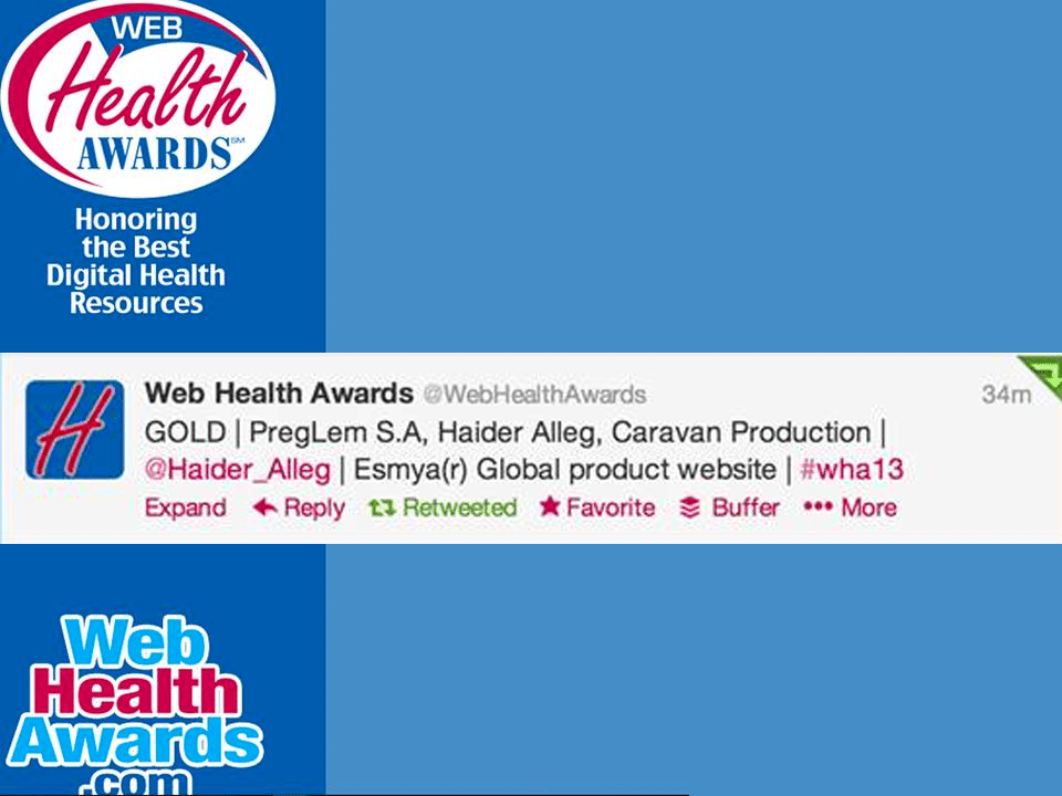 We won the Gold Web Health Award for Esmya.com | Haider Alleg